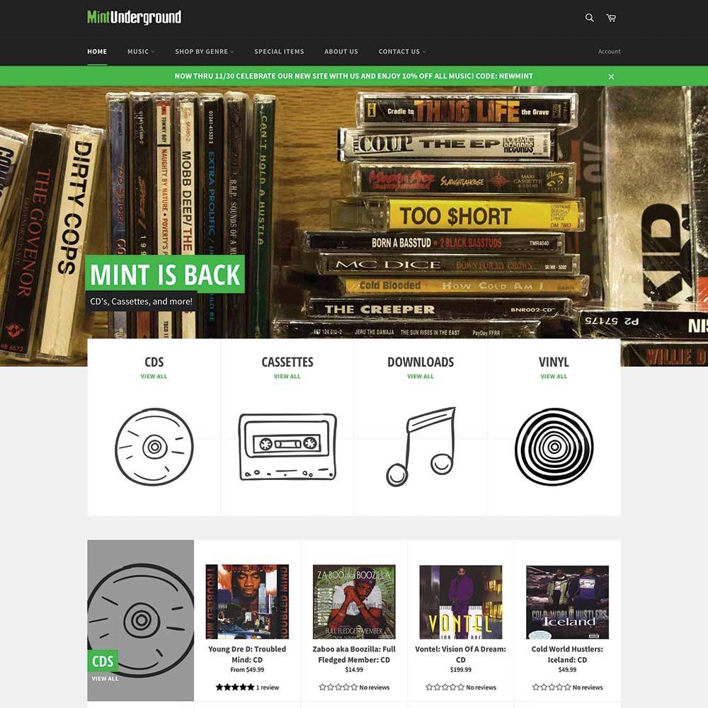 Mint Underground Shopify Site